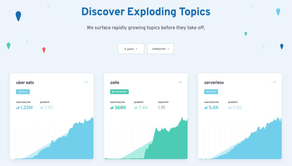 Trending Topics - Content Marketing Tool - Exploding Topics