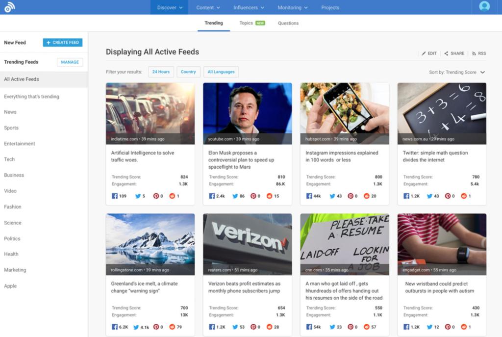 Trending Topics - Content Marketing Tools - BuzzSumo